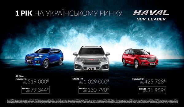 Спеціальні ціни на автомобілі HAVAL з нагоди 1-ої річниці бренду в Україні!